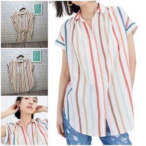 Madewell NWOT rainbow stripe  oversize tunic shirt